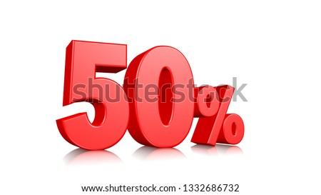 50% Red fifty percent on a white background. 3d render illustration.
