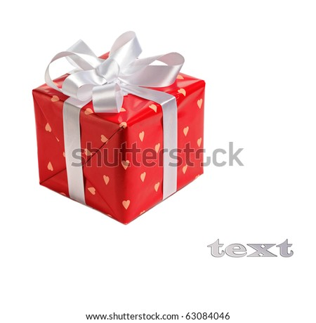 red gift box  decorated with satin white bow  isolated on white