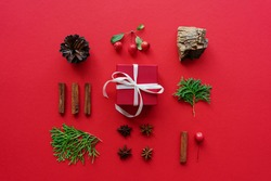 red gift box with ribbon with natural Christmas decor - cinnamon sticks, fir tree branches, anise stars and bark fragments. Concept of Christmas and New Years holidays