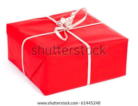 Red gift isolated on white