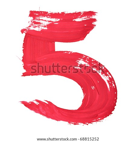 5 - Red handwritten digits over white background - stock photo