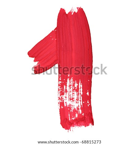 1 - Red handwritten digits over white background