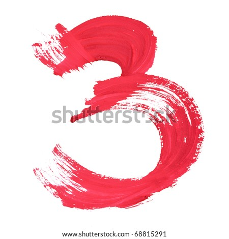 3 - Red handwritten digits over white background