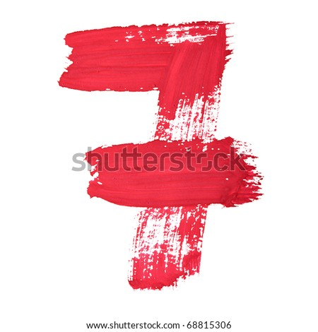 7 - Red handwritten digits over white background