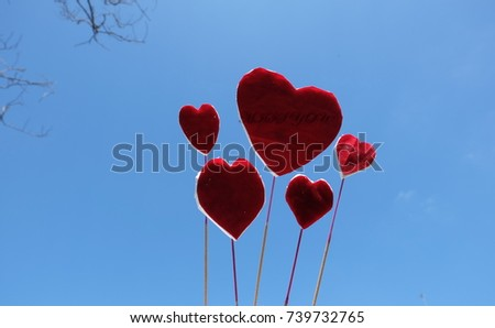 Red heart Scattered in the sky on Valleys Day #739732765