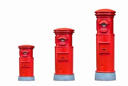Red London postbox, isolated on white background