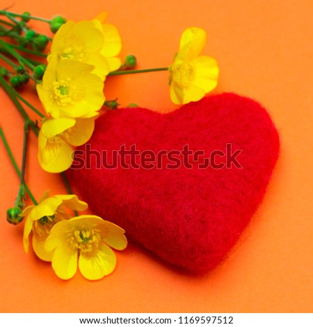 Red loving heart with yellow simple flowers orange background #1169597512