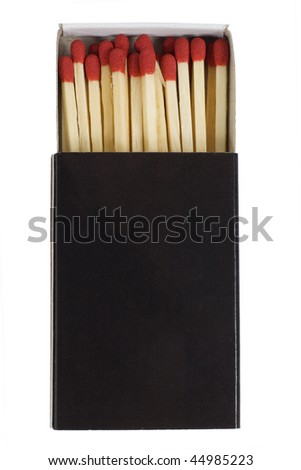 red matches in a black box isolated on a white background.