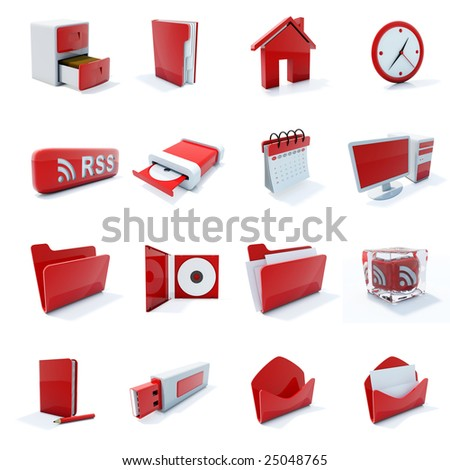 16 red plastic 3d icons isolated on white