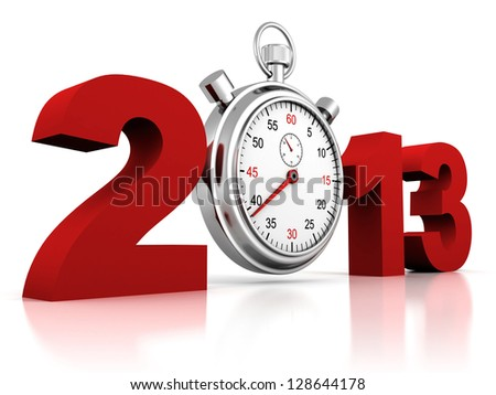 2013 red sign with stopwatch on a white background