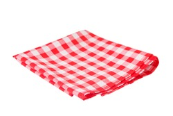 Red tablecloth in a cage isolated on a white background