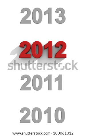 2012 red text in a sequence of other years
