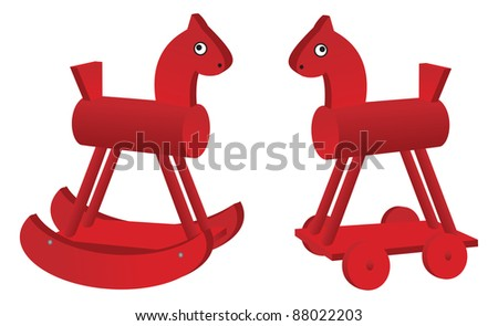 red toy horses isolated on white background. Raster version.