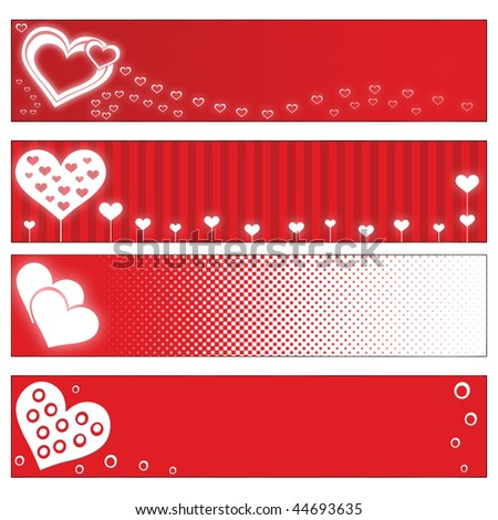 stock photo : 4 red Valentines Day banners with hearts