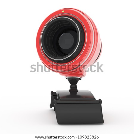 red web camera isolated on white background. 3d render