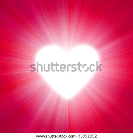 red  with a glow of white light heart shape