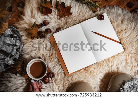 Relaxing autumn day at home with coffee and blank notebook for copyspace in warm coziness scandinavian hygge style, POV first person look which is female #725933212