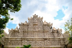 Relief at the top of main gate in taman sari water castle - the royal garden of sultanate of jogjakarta
