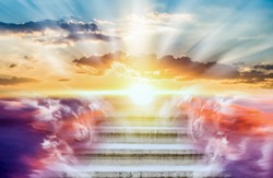 Religion background . Heavens gate . Stairway to the sky . Way to success