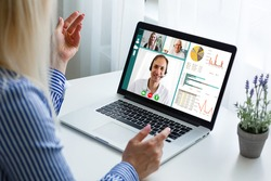 Remote learning or work. Video conference concept