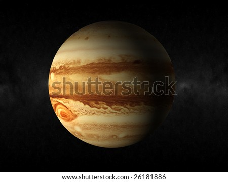 rendering of the planet jupiter - stock photo