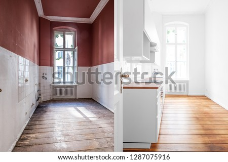 renovation concept -kitchen room before and after refurbishment or restoration  Photo stock ©