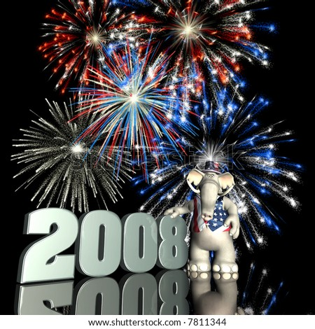 2008 Represented by a Republican Political Elephant with red, white and blue fireworks.