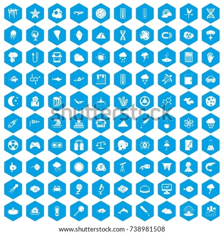 100 research icons set in blue hexagon isolated  illustration