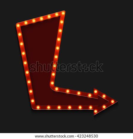 retro arrow with light bulb on black background