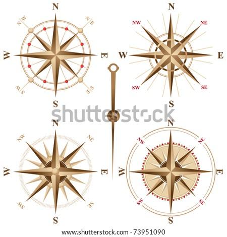 4 retro compasses
