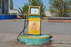 retro gas station in the steppe