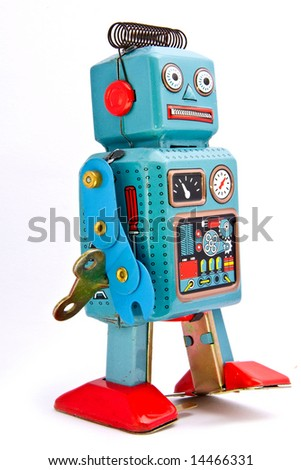 retro robot toys on white