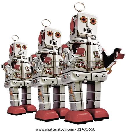 retro  robots in a line