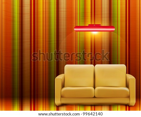 retro room with a sofa and a lamp