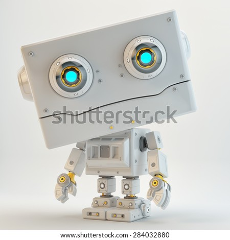 Retro styled robotic toy with square head / Cute little robot toy
