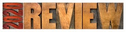 2020 review banner - annual review or summary of the recent year - isolated word abstract in letterpress wood type blocks, business concept