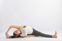 (34-104)Revolved Seated Angle Pose (Parivrtta Upavistha Konasana Variation) Yoga Posture (Asana)