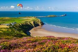 Rhossili Bay, Worms Head, Gower, Peninsula, Wales, UK