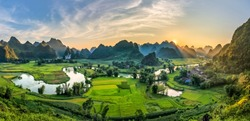 Rice terrace paddle field in sunset and dawn at Phong Nam, Trung Khanh, Cao Bang, Vietnam. Cao Bang is beautiful in nature place in Vietnam, Southeast Asia. Travel concept
