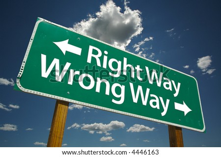 stock-photo--right-way-wrong-way-road-si