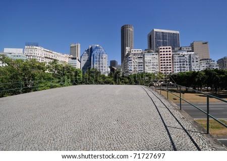 """Rio de Janeiro"" downtown view  from a footbridge"