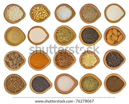 1. rise, 2. pop corn, 3. Sea salt, 4. Cumin, 5. Semolina, 6. Coriander, 7. Flour, 8. Oregano, 9. Black tea, 10. Almond, 11. Not refined sugar, 12. Turmeric, 13. Mixture spices, 14. Thai mali rice, - Shutterstock ID 76278067
