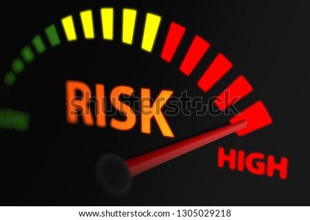Risk Indicator, Risk Level to Maximum. 3D illustration  ストックフォト ©