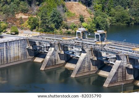 river reservoir in Orense, Galicia, Spain