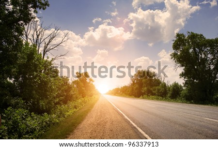 road to sunset - stock photo