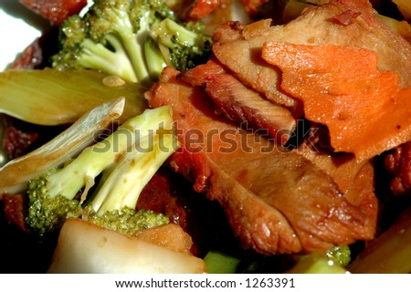 Roast Pork With Mixed Vegetables Chinese Food Stock Photo 1263391 ...