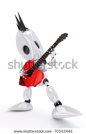 robot rock star playing a heart shaped guitar