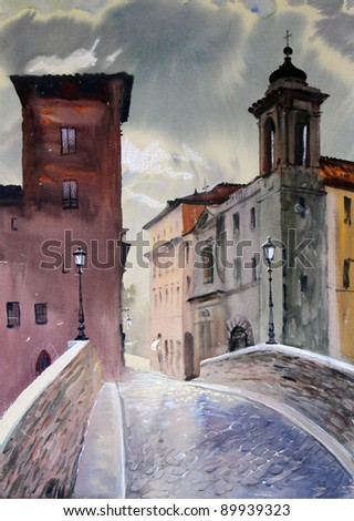 Roman cityscape with Fabricius Bridge (Ponte Fabricio),(Ponte dei Quattro Capi) and buildings on the Tiber Island painted by watercolor.
