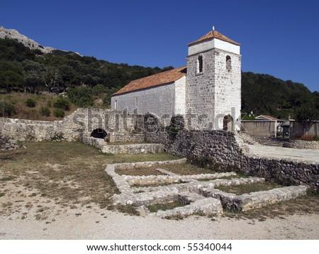 Romanesque church of St. Lucy   in Jurandvor, near Baska, on  the island of Krk, Croatia.