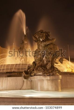 Rome - fountain from Piazza della Repubblica at night